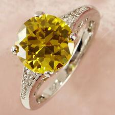Round Cut Jewelry Citrine&White Topaz Gemstone Silver Ring Size6-13 Fashion Gift