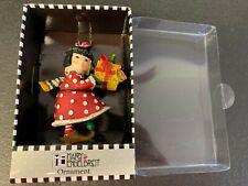 Mary Engelbreit Polka-Dot Girl Holding Gift Christmas Ornament #61508 Nib