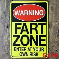 Metal Tin Sign Warning Fart Zone Enter Risk Art Cave Home Wall Decor Work Shop