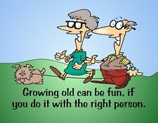 METAL REFRIGERATOR MAGNET Growing Old Fun With Right Person Family Love Dog