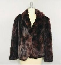 Vintage 70s Rabbit Fur Jacket Size L Large Pink Quilted Lined disco Luxury Pinup