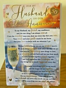 For My Husband On Our Golden Wedding Anniversary 50yrs Gold Foil Premium Quality