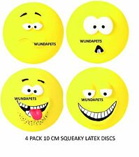4 PACK TRIXIE LATEX SQUEAKY DOG 10 CM DISC DOG PUPPY TOYS CHARACTER FACES 35265
