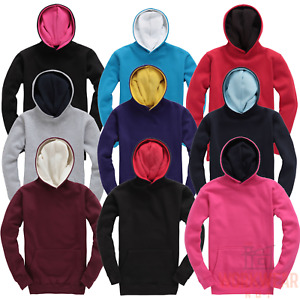Contrast Hoodie for Kids, Childrens Hooded Sweater Boys Girls Unisex