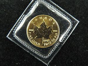 1999 1/10 oz $5 20 Years Aniversary Gold Maple Leaf Coin 9999 Fine Au RCM Canada