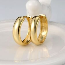 18k Yellow Gold Filled Earrings 21MM Hoop 5mm smooth Huggie GF Women's Jewelry