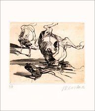 """CLAUDE WEISBUCH - Gravure signée au crayon """"Chien & cheval"""" 32x25 cm, Certificat"""