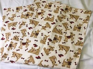"""Flannel PUPPY Dog & Slippers Adorable Lap Blanket 47"""" X 44"""" Double Sided TAN"""