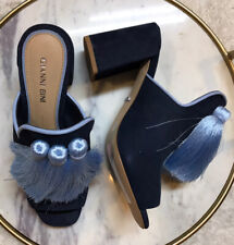 Gianni Bini Moneekas Block Heel Tassel Mules Size 5.5M Blue Leather Upper