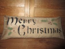 Primitive Stenciled Pillow - Merry Christmas - holly