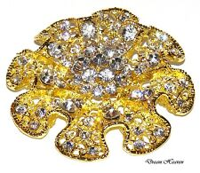 Beautiful Gold Flower Diamante Broach Crystal Wedding Prom Party Diamonte Brooch
