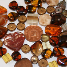 50g variety mixed beads. various sizes brown copper bronze jewellery making