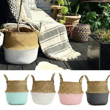 Foldable Seagrass Woven Storage Flower Vase Hanging Basket Plant Shopping Bag