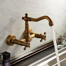 Antique Brass Wall Mount Bathroom Sink Faucet Dual Handle Swivel Spout Mixer Tap
