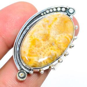 Fossil Coral - Australia Gemstone 925 Silver Handmade Jewelry Ring s.9 F2542