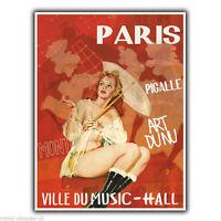 PARIS CITY OF MUSIC ART Vintage Retro Advert METAL WALL SIGN PLAQUE poster print