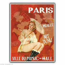 PARIS CITY OF MUSIC ART Vintage Retro Advert METAL WALL SIGN PLAQUE poster print