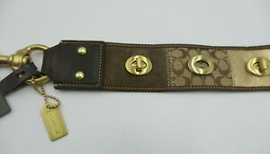 "COACH Patchwork Signature C 2"" wide Turnlock Dog-leash Belt Size M  Brown Gold"