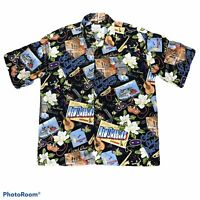 David Carey Originals New Orleans Print Casual Button Shirt Mens Size XL