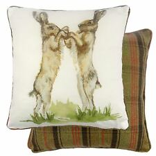 REVERSIBLE BOXING HARES FILLED TARTAN EVANS LICHFIELD LINEN COTTON CUSHION 17""