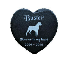 Personalised Engraved Slate Heart Pet Memorial Grave Marker Plaque Boxer Dog