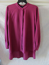 Eileen Fisher High Low Tunic/Top-Silk Crepe de Chine-Rumberry-Size 2XS-NWT $258