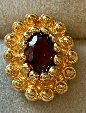 Garnet Oval Stud Single Earring Solid 14K Yellow Gold Weighs 1.2 Grams