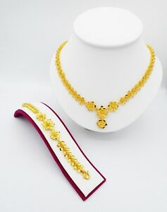Set Flower 24K Thai Baht Yellow Gold Women Necklace Pendant & Bracelet Jewelry 2