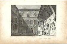 Stampa antica FIRENZE Palazzo del Podestà interno 1834 Old print Florence