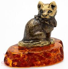 Solid Brass Amber Figurine of the Arctic fox IronWork