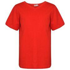 e3b66c56c Niño Rojo Diseñador 100% Algodón Liso Camiseta Ringspun Camisetas 2-13 Año