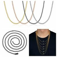 """2mm 20""""-30"""" Women Men Stainless Steel Ball Beads Chain Necklace For Pendant Lot"""