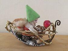 Vintage Spun Cotton Celluloid Chenille Elf Gnome Metal Christmas Ornament RARE