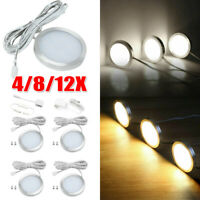4/8/12X Under Cabinet LED Lighting Kit Hardwired Wall Plug in Puck Lights Wired