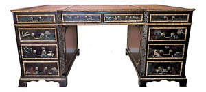 John Widdicomb Rare oil painted Chinoiserie Partners Desk in Excellent condition