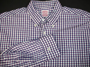 Brooks Brothers Shirt Purple White Gingham Check Long Sleeve All Cotton 16.5 - 2