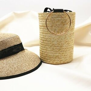 Bag Straw Summer Beach Handbag Women Tote Fashion Weave Basket Woven Round Bags