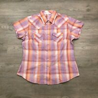 Cumberland Outfitters by Ely Womens Large Lavender Salmon Plaid Pearl Snap Shirt