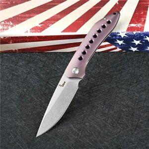 Drop Point Folding Knife Pocket Hunting Survival Tactical S35VN Titanium Handle