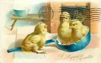 UDBK Embossed Postcard K280 Cancel 1907 Chicks in Pan Happy Easter Tuck Germany
