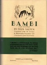 BAMBI - 1928 US FIRST EDITION, FIRST PRINTING W DUST JACKET Felix Salten DISNEY