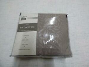 $65.00 Sanders Leaf Embossed Brushed Microfiber. King Sheet Set, Gray