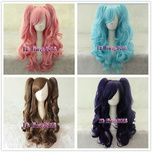 60cm Long wavy Curly Clip-In Ponytails Lolita Style Cosplay Wig +a wig cap