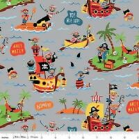 FLANNEL: PIRATES MAIN GRAY Cotton Flannel Print by RILEY BLAKE BTY
