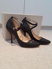Jimmy Choo Black Ankle Strap Printed Python Style Leather Pumps Size UK 4 EU 37