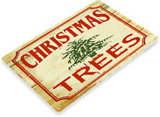 TIN SIGN Christmas Trees Holiday Rustic Metal Décor B963