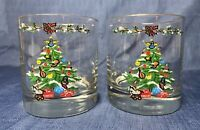 Pair Set 2 Vintage Christmas Tree Tumblers Drinking Glasses Gold Rimmed Heavy