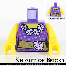Lego Minifigure Torso PURPLE Female Blouse with GOLD Sash and Flowers Town City