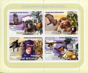 Guinea-Bissau Wild Animals & Birds of Prey on Stamps 2008 MNH Monkeys 4v M/S