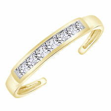 Adjustable Body Jewelry In 10k Solid Gold Eternity Band Cz Toe Ring Channel Set